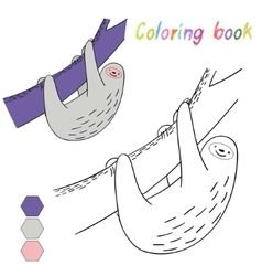 Coloring book sloth kids layout for game vector