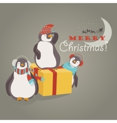 Funny penguins friends celebrating christmas vector
