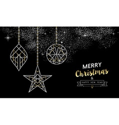 Merry christmas new year decoration outline gold vector