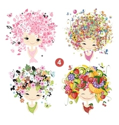 Floral girls Seasons concept for your design vector image