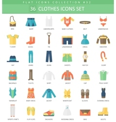 Clothes color flat icon set Elegant style vector image