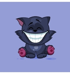 Isolated emoji character cartoon black cat with a vector