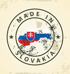 Stamp with map flag of slovakia vector