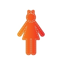 Girl sign  orange applique isolated vector