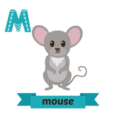 Mouse m letter cute children animal alphabet in vector