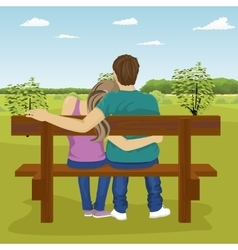Happy young couple sitting on bench outdoors vector