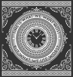 art deco vintage clock with quotes vector image