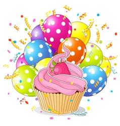 Birthday cupcake with balloons vector