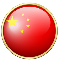 China flag on round frame vector