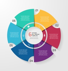 Circle infographic 6 options vector