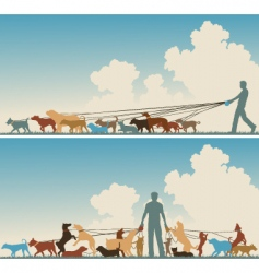 dog walker vector image vector image