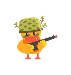 Duckling soldier cute character sticker vector