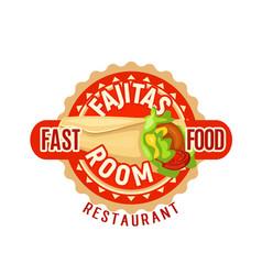Fajitas mexican fast food restaurant icon vector
