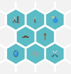 Flat icons hairdresser shears deodorant and vector