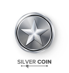 game silver coin with star realistic vector image vector image