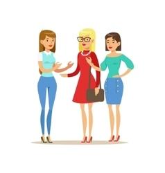 Happy Three Girls Best Friends Talking Part Of vector image vector image