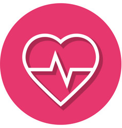 Heart rate in circle line icon vector