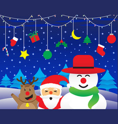merry christmas - happy three friends and vector image vector image