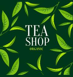 Organic tea frame emblem vector