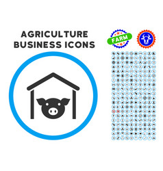 Pig farm rounded icon with set vector