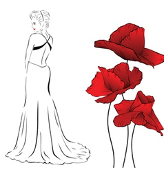 poppy woman white vector image vector image