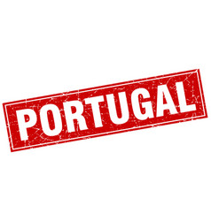 Portugal red square grunge vintage isolated stamp vector