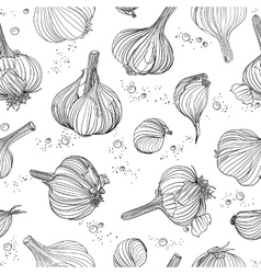 Seamless pattern - garlic and peppercorns vector
