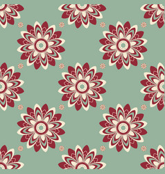 Seamless pattern of abstract flowers in cold tones vector