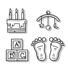 Set cute babies tools icons vector