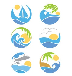 set icons - travel and vacation vector image vector image