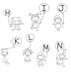 Set of happy alphabet hand-drawn cartoon vector
