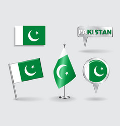 Set of pakistani pin icon and map pointer flags vector