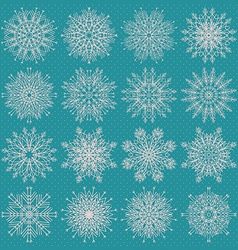 Set of sixteen different snowflake silhouettes on vector