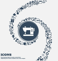 Sewing machine icon in the center around the many vector