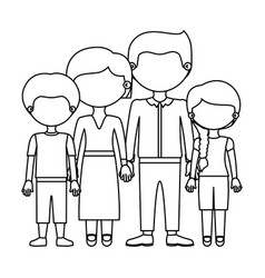 Sketch silhouette faceless family group in formal vector