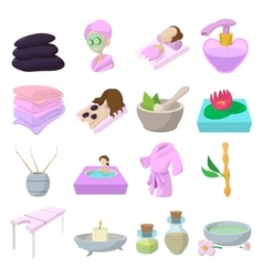 Spa cartoon icons set vector