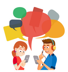 teen girl and boy messaging communicate on vector image vector image