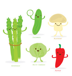 vegetable cartoon cute set vector image vector image