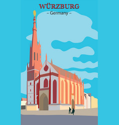 wurzburg church in germany vector image vector image