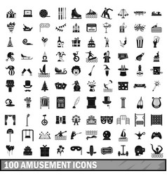 100 amusement icons set simple style vector