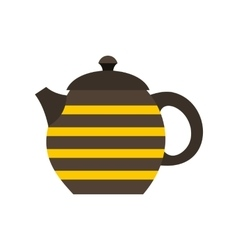 Striped teapot icon flat style vector