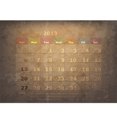 antique calendar of January vector image