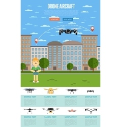 Drone aircraft template with flying robot vector