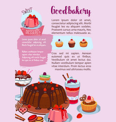 poster for bakery shop pastry desserts vector image