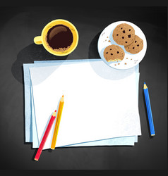 coffee cup and color pencils laying on paper vector image