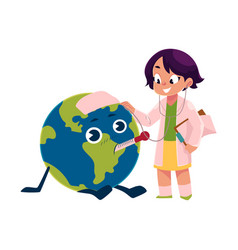 Girl playing doctor with globe earth planet vector