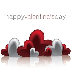 Hearts on a shiny surface valentines day card in vector