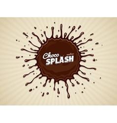 Round chocolate splash with vector image