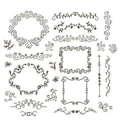 floral decor set of hand drawn vintage vector image