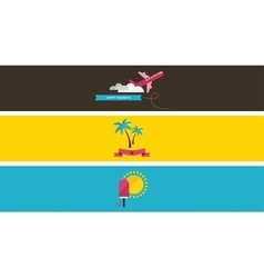 Three summer vacation banners vector